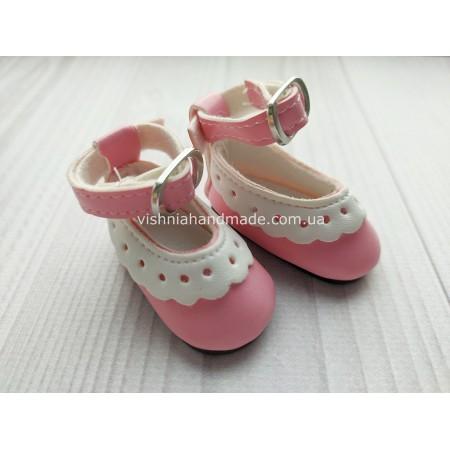 Обувь для кукол. Туфельки с ремешком ажурные РОЗОВЫЕ 4.5*2 см