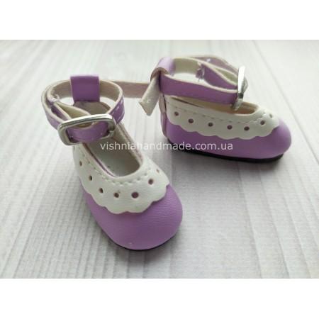 Обувь для кукол. Туфельки с ремешком ажурные СИРЕНЕВЫЕ 4.5*2 см