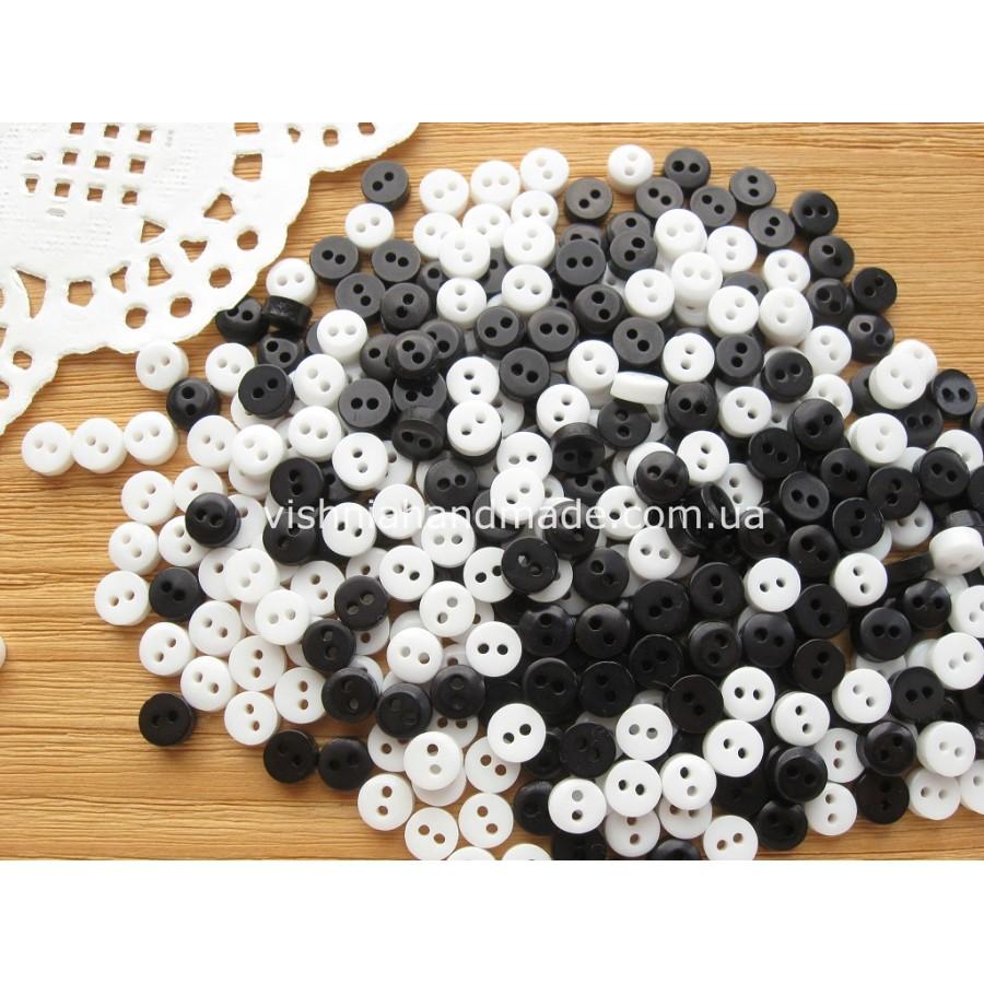 """Набор пуговиц """"Черные белые"""" 6 мм для кукольной одежды, 30 шт"""