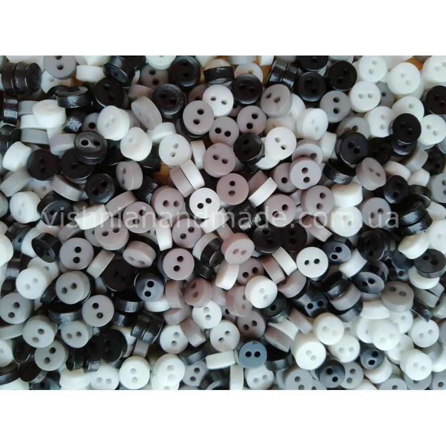 """Набор пуговиц """"Серые, черные, белые"""" 6 мм для кукольной одежды, 30 шт"""