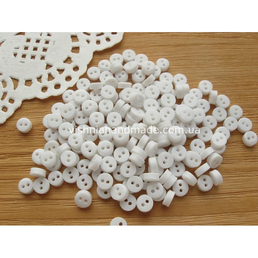 Белые пуговицы 6 мм для кукольной одежды, 10 шт