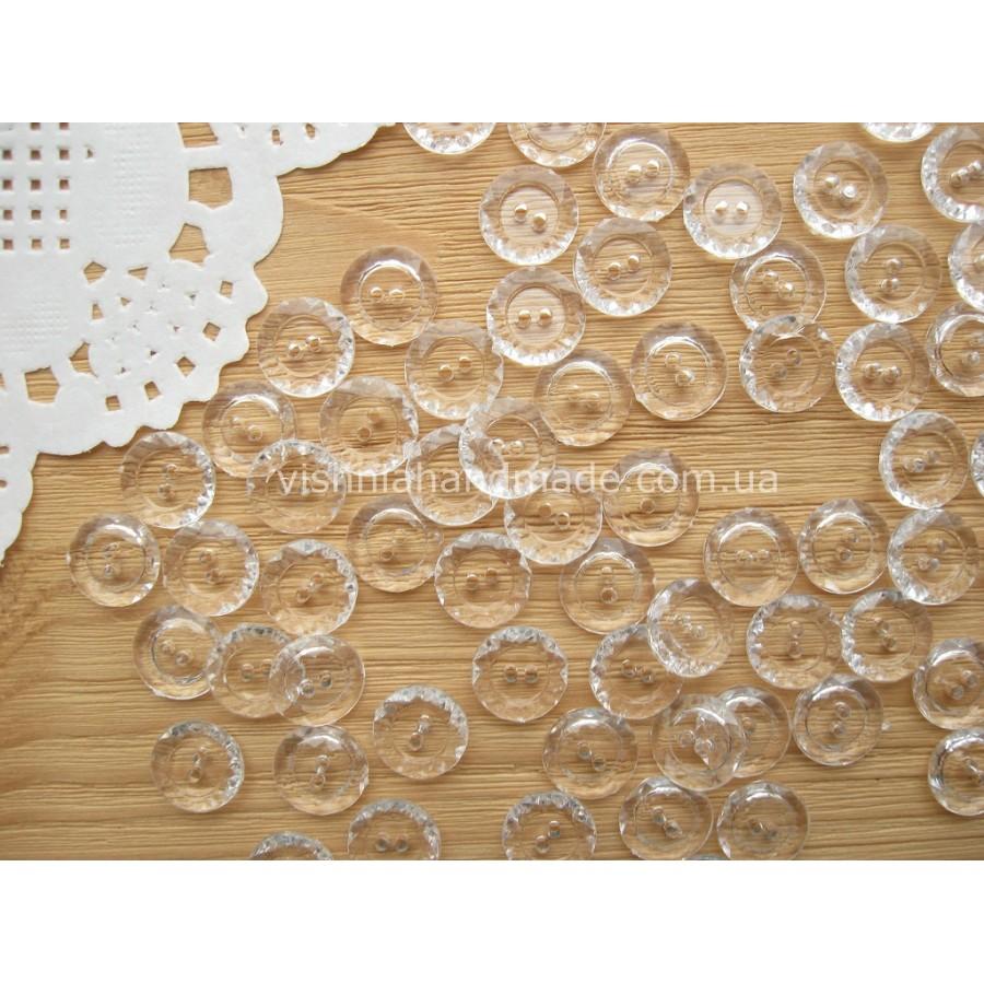 Пуговицы прозрачные круглые с бортиком, 10 мм