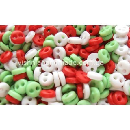 Набор микро пуговиц 4 мм для кукольной одежды «Новый год», 30 шт