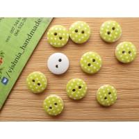 Круглая деревянная пуговица 13 мм для рукоделия «Горох на лимонном»