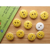 Круглая деревянная пуговица 13 мм для рукоделия «Горох на желтом»