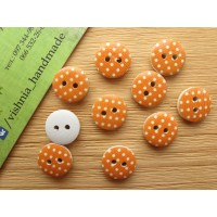 Круглая деревянная пуговица 13 мм для рукоделия «Горох на оранжевом»