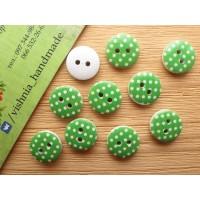 Круглая деревянная пуговица 13 мм для рукоделия «Горох на зеленом»