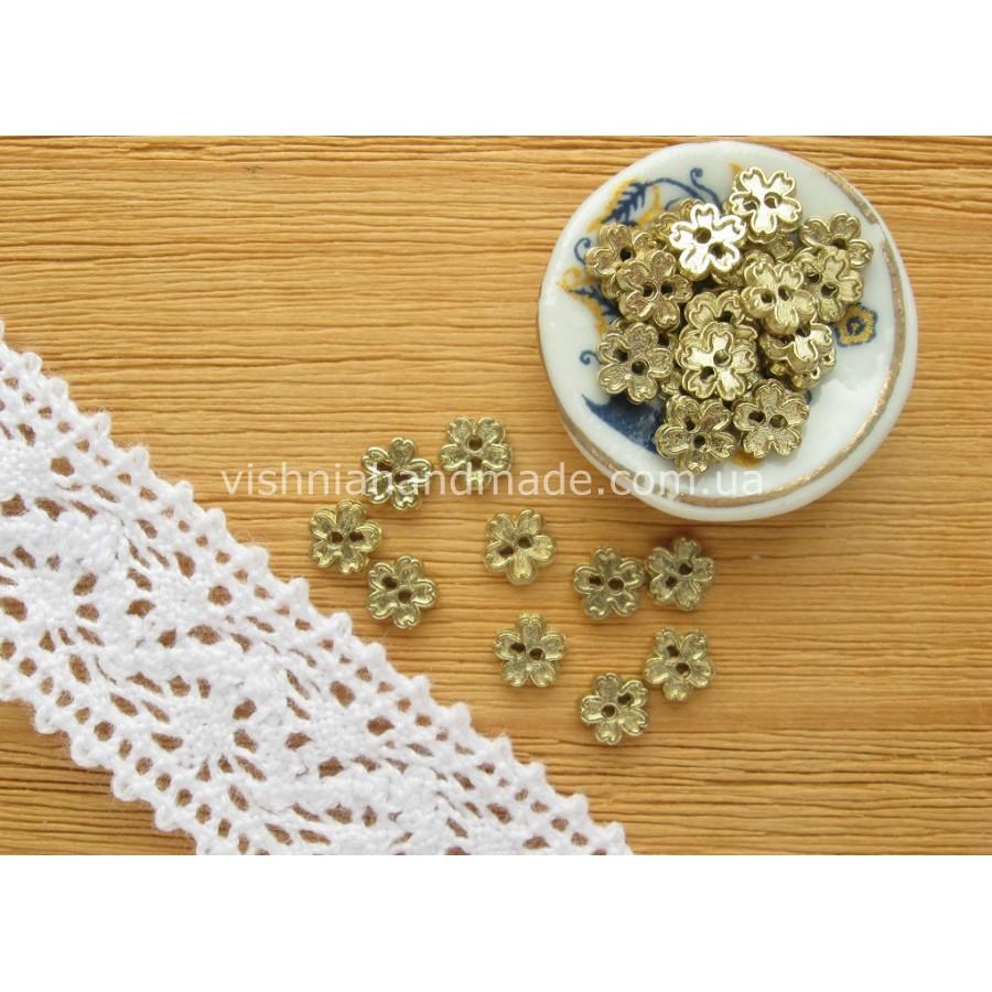 Золотые металлические пуговицы ЦВЕТОЧЕК для кукольной одежды, 4 мм,10 шт
