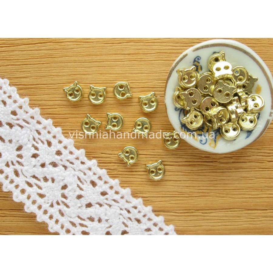Золотые металлические пуговицы КОТИК для кукольной одежды, 4 мм,10 шт