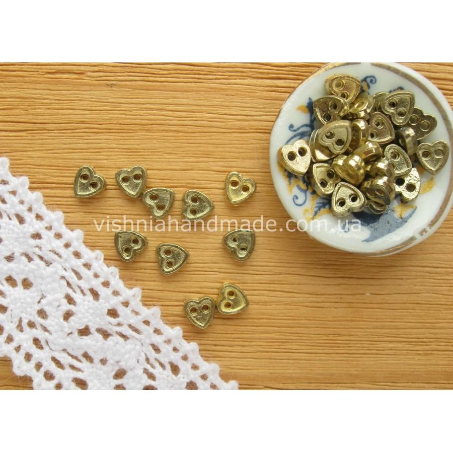 Золотые металлические пуговицы СЕРДЕЧКО для кукольной одежды, 4 мм,10 шт