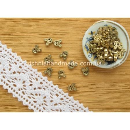 Золотые металлические пуговицы ЗАЙЧИК для кукольной одежды, 4 мм,10 шт