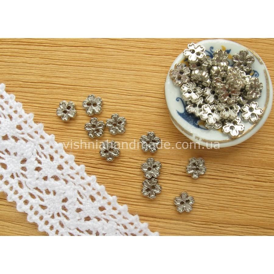 Серебряные металлические пуговицы ЦВЕТОЧЕК для кукольной одежды, 4 мм,10 шт
