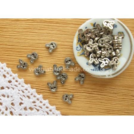 Серебряные металлические пуговицы КОТИК для кукольной одежды, 4 мм,10 шт