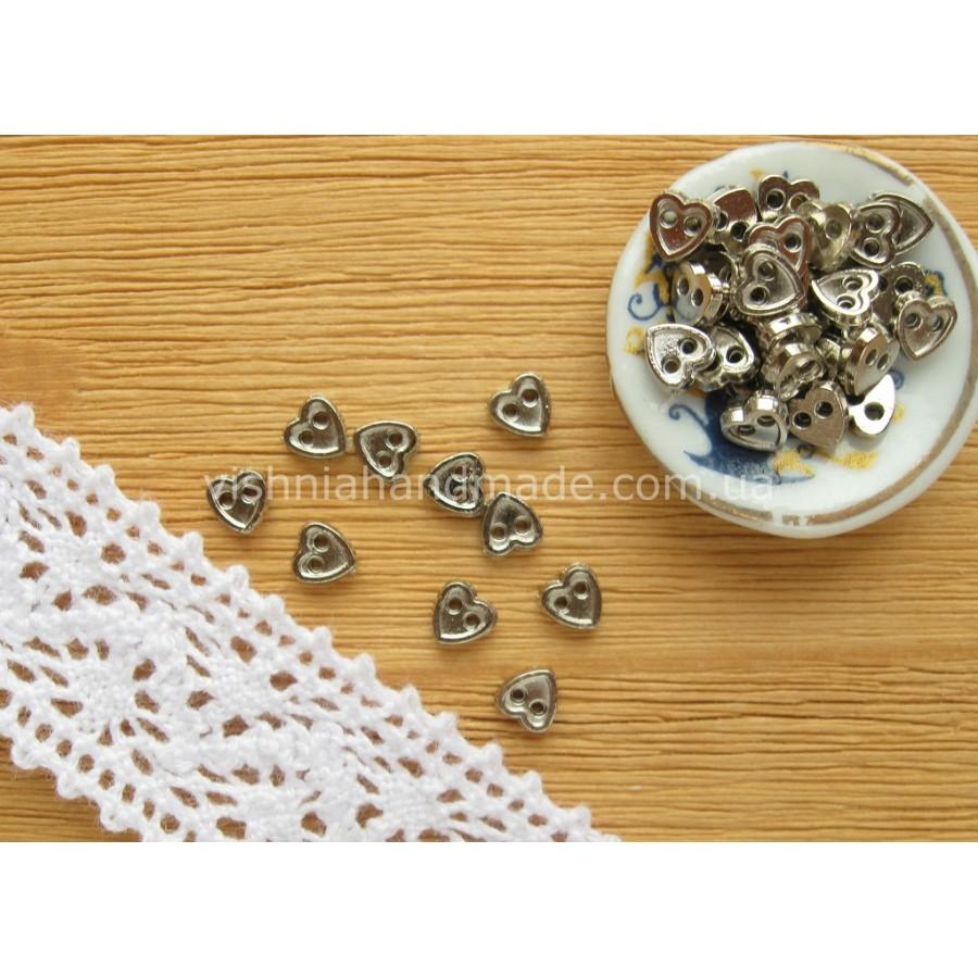 Серебряные металлические пуговицы СЕРДЕЧКО для кукольной одежды, 4 мм,10 шт