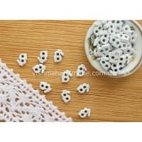 Белые металлические пуговицы ЗАЙЧИК для кукольной одежды, 5*3 мм,10 шт