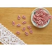 Розовые металлические пуговицы ЗАЙЧИК для кукольной одежды, 5*3 мм,10 шт