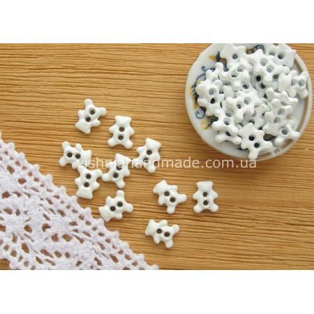 Белые металлические пуговицы МЕДВЕЖОНОК для кукольной одежды, 6*4 мм,10 шт