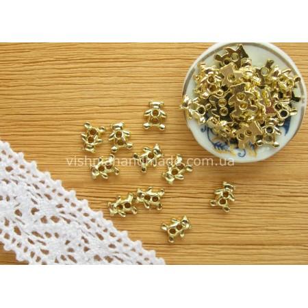 Золотые металлические пуговицы МЕДВЕЖОНОК для кукольной одежды, 6*4 мм,10 шт