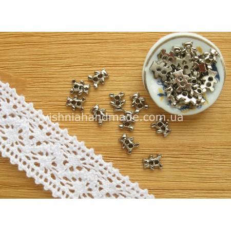 Серебряные металлические пуговицы МЕДВЕЖОНОК для кукольной одежды, 6*4 мм,10 шт