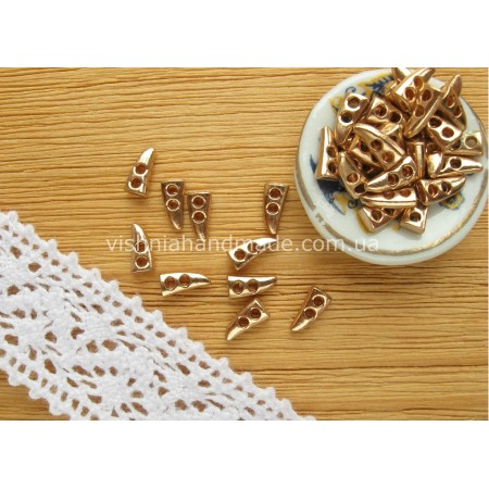 Золотые металлические пуговицы КЛЫК для кукольной одежды, 7*3 мм,10 шт