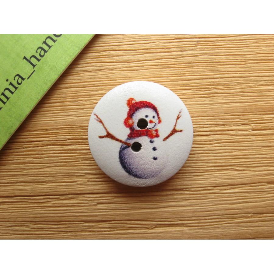 """Пуговица круглая """"Снеговик в красной шапке"""", 20 мм"""