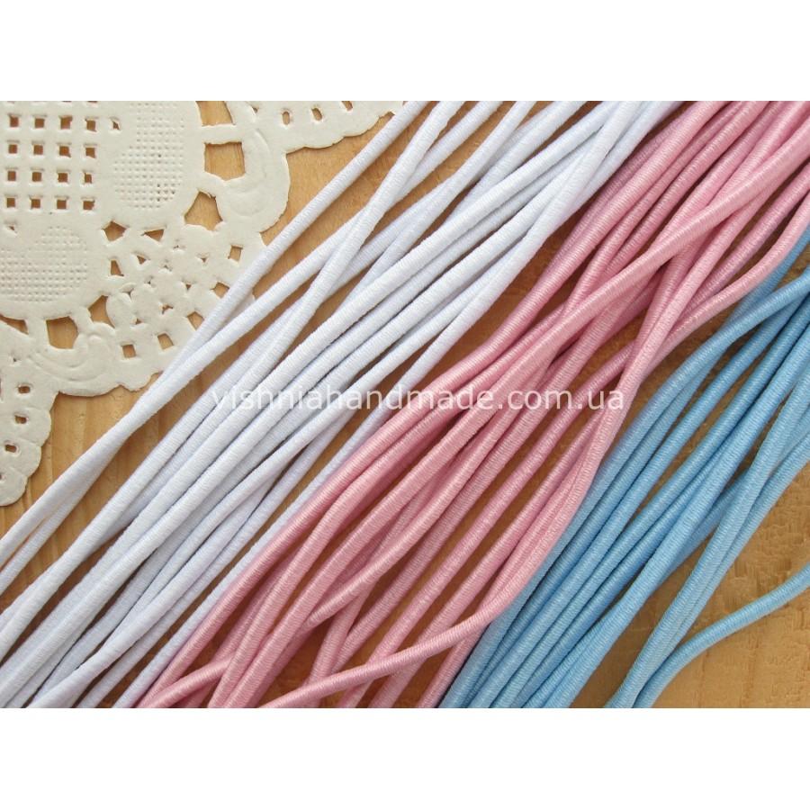 Резинка шляпная, выбор цвета - белый, розовый, голубой, 1 м