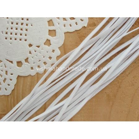 Резинка трикотажная белая ширина 3 мм, 1 м