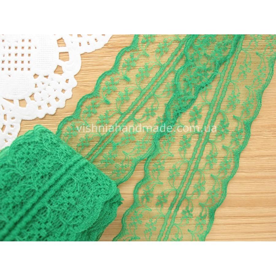 """Кружево зеленое """"Цветочная дорожка"""",  4.5 см"""