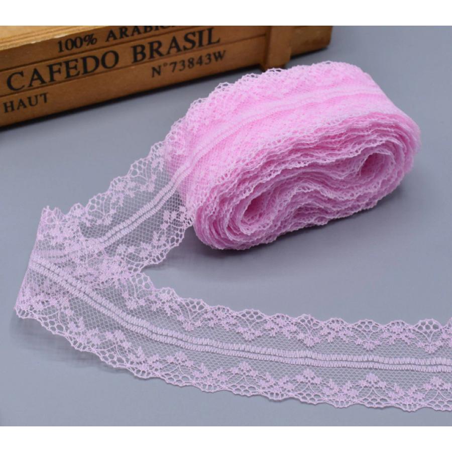 """Кружево розовое """"Адель"""" шириной 4 см, 1 м"""