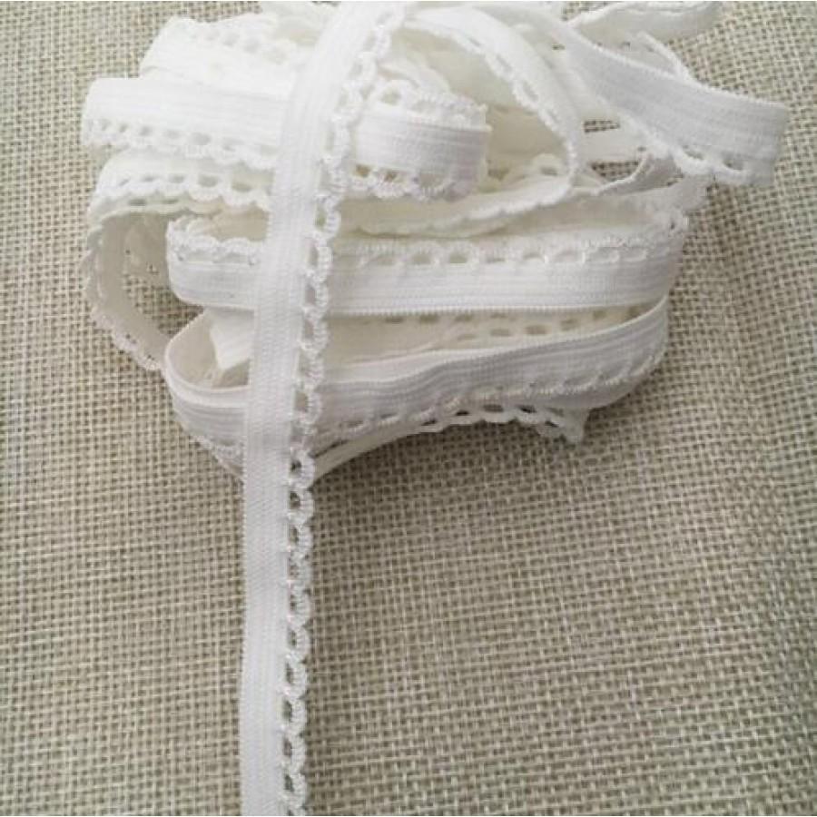 Белая ажурная резинка для кукольной одежды (9 мм), 1 м