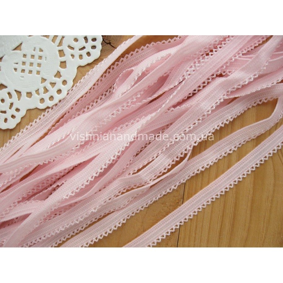 Светло розовая ажурная резинка для кукольной одежды (9 мм)