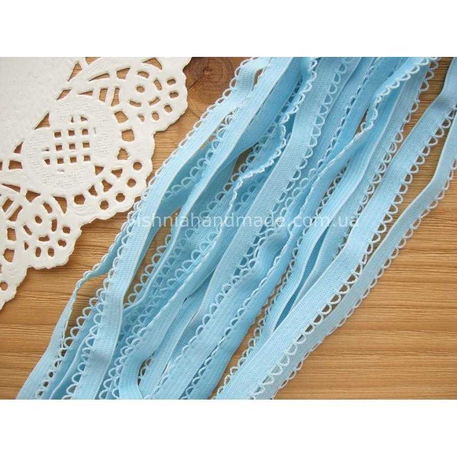Голубая ажурная резинка для кукольной одежды (9 мм)