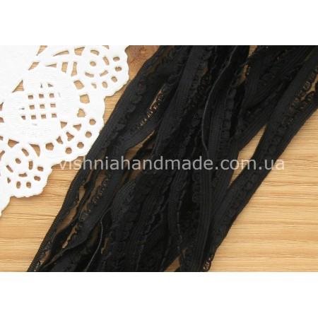 Черная ажурная резинка для кукольной одежды (9 мм), 1 м