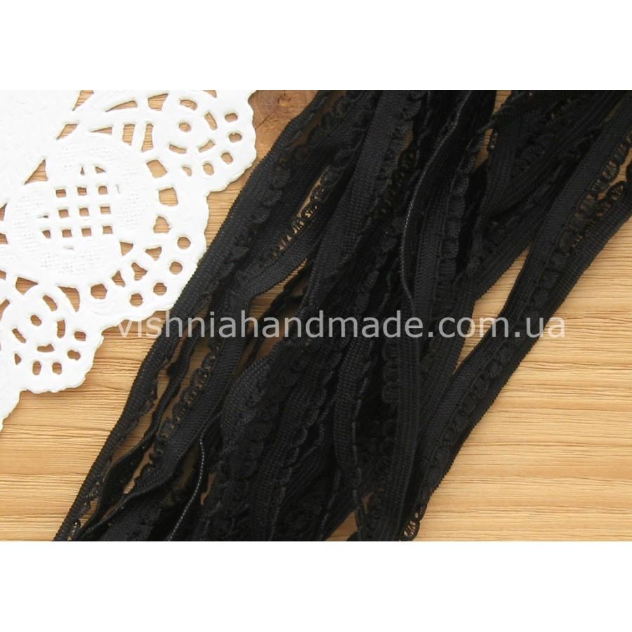 Черная ажурная резинка для кукольной одежды (9 мм)