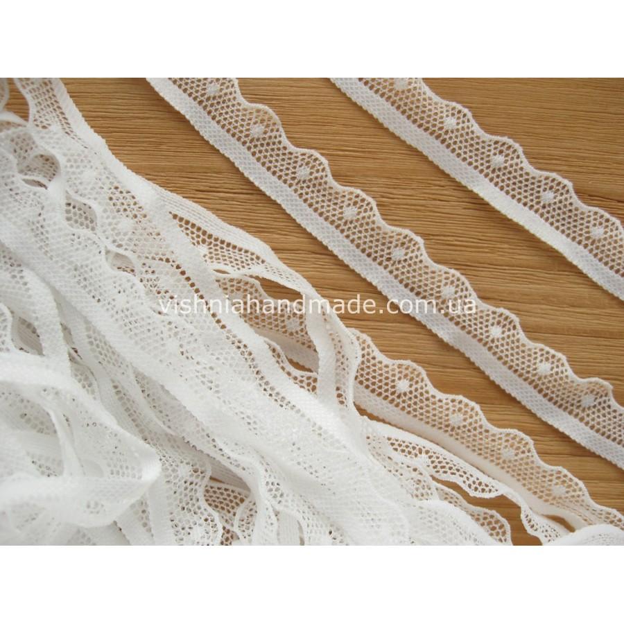 Белое эластичное кружево для кукольной одежды шириной 15 мм, 1 м