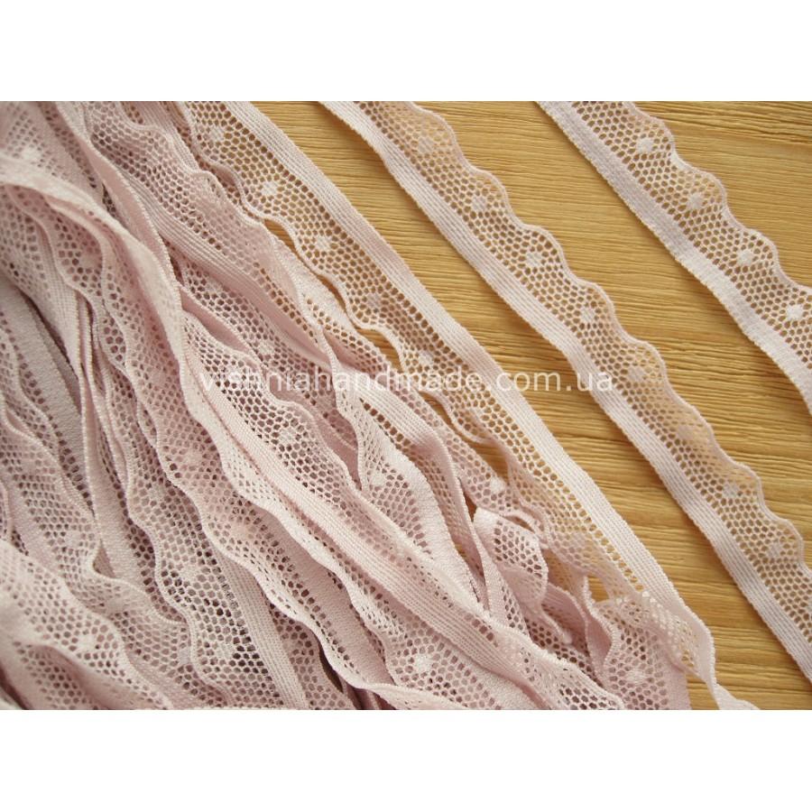 Пыльно розовое эластичное кружево для кукольной одежды шириной 15 мм, 1 м