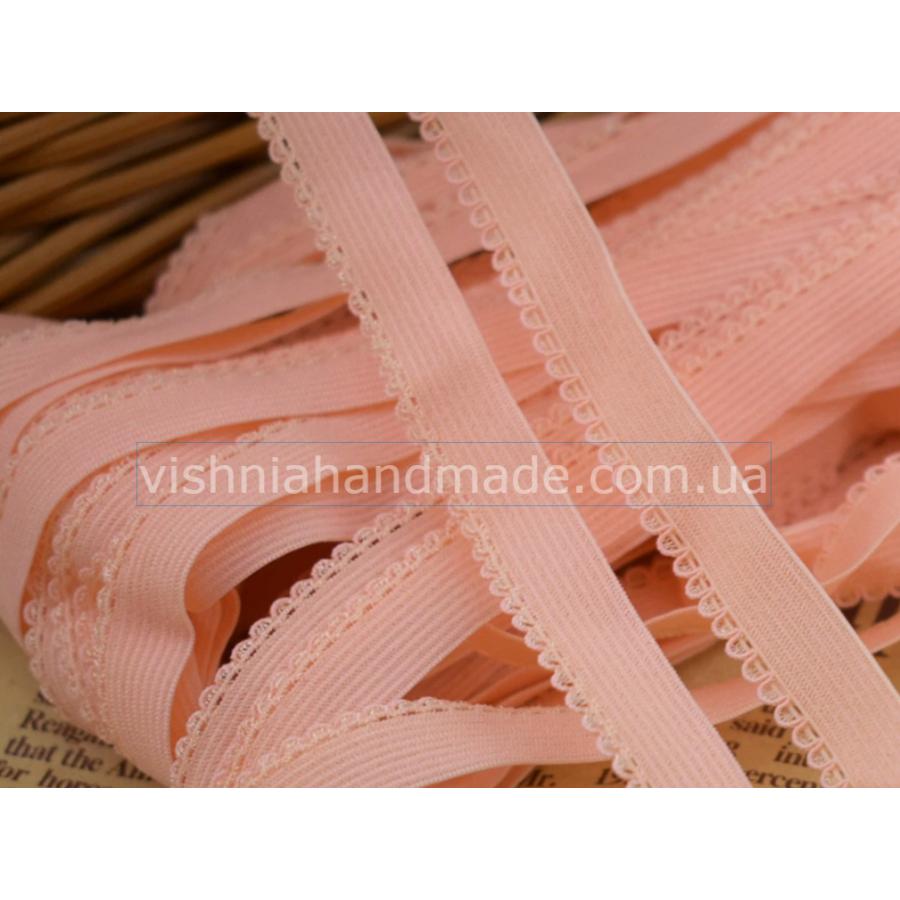 Персиковая ажурная резинка для кукольной одежды (9 мм), 1 м