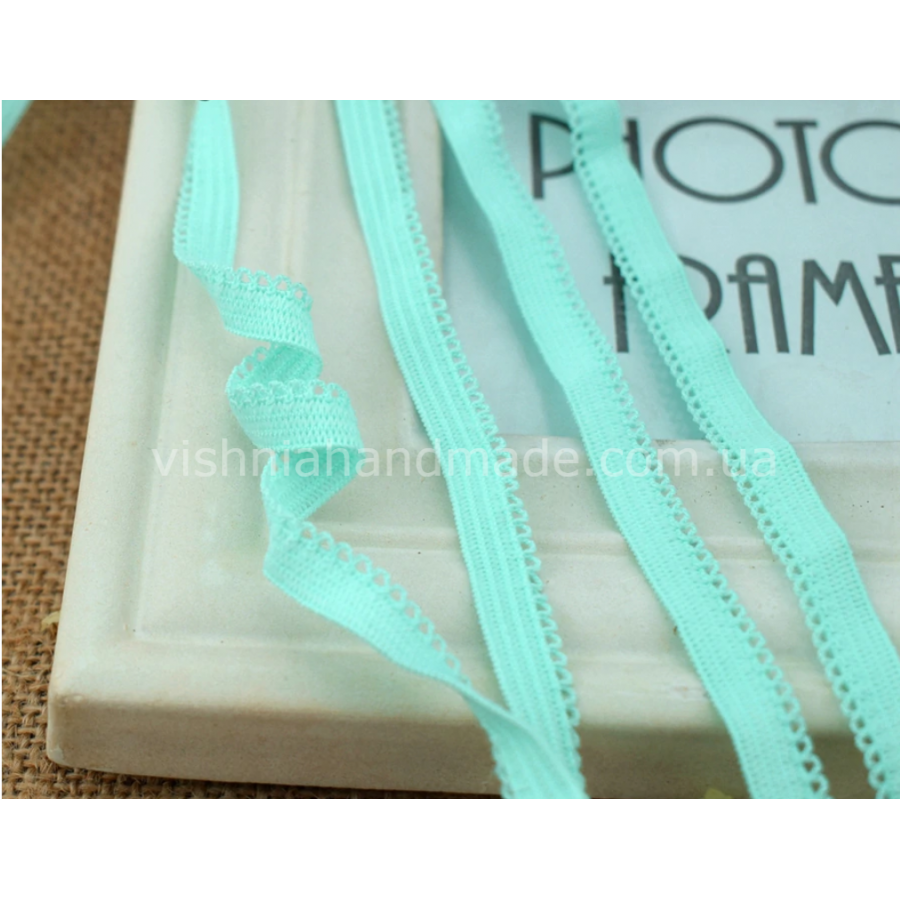 Мятная ажурная резинка для кукольной одежды (9 мм), 1 м