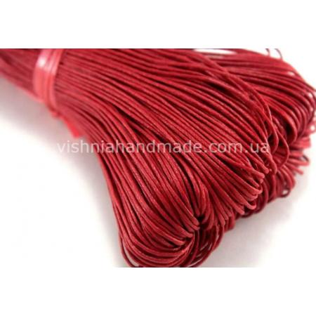 Красный вощеный хлопковый шнур (1 мм), 1 м