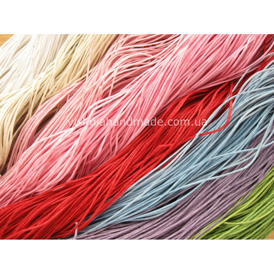 Микс цветов вощеный хлопковый шнур (1 мм), 15 м