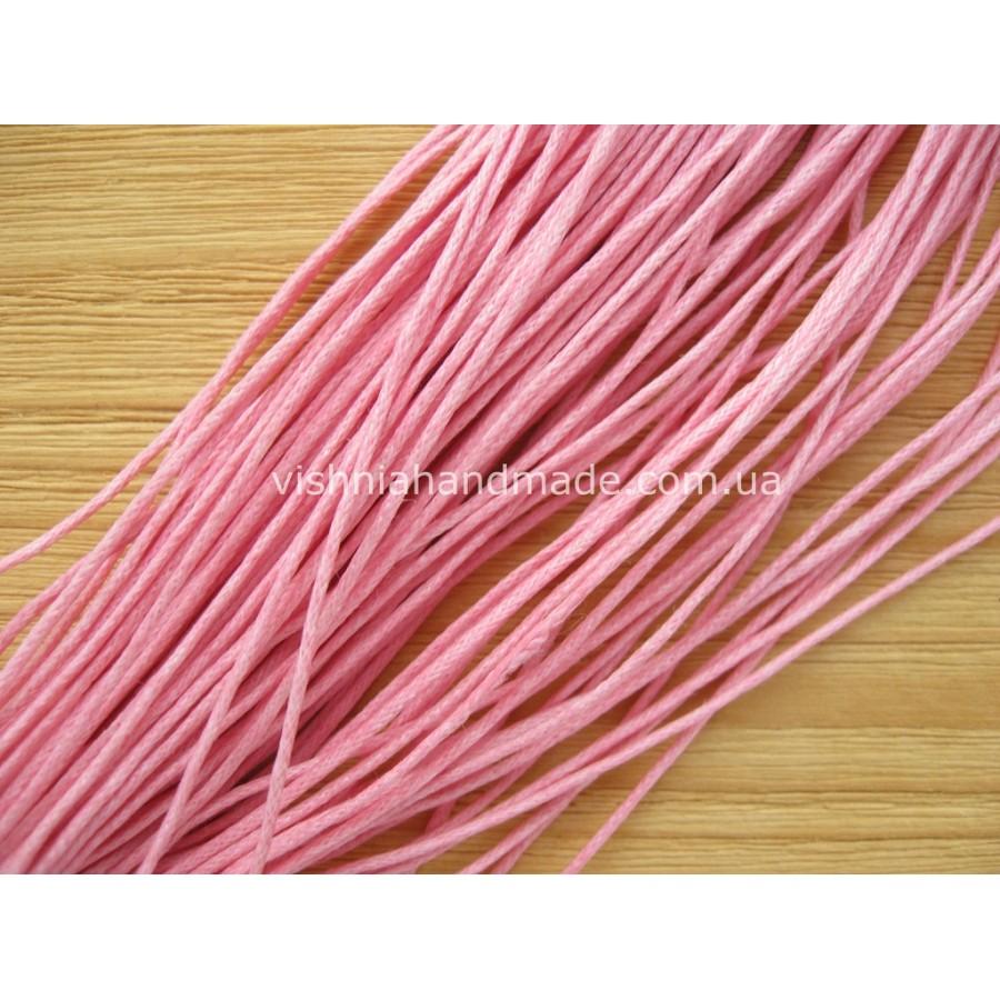 Шнур вощеный хлопковый розовый, толщина 1 мм