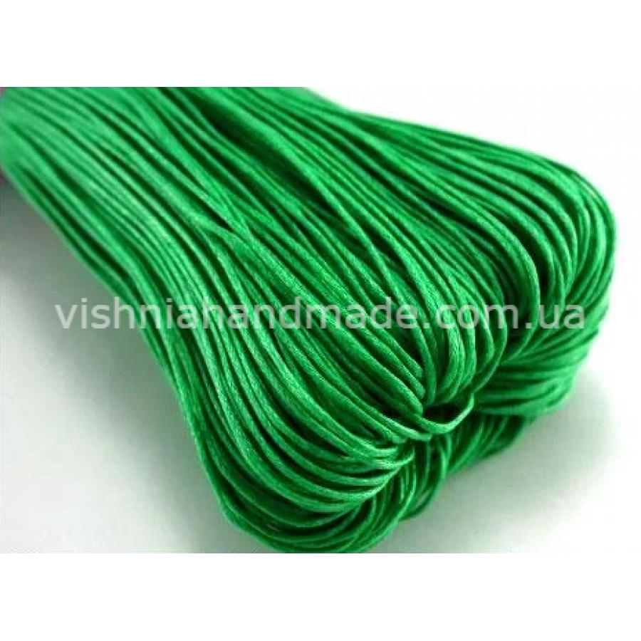 Зеленый вощеный хлопковый шнур (1 мм)