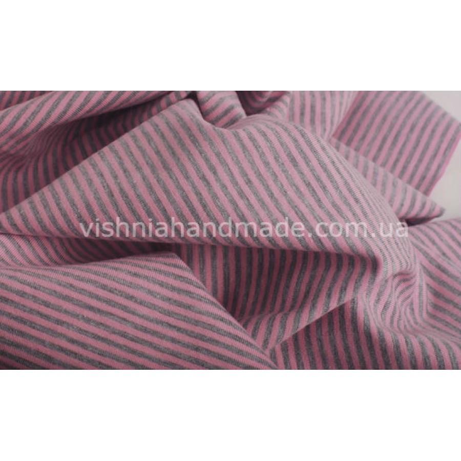 Трикотаж стрейч-кулир розовая-серая полоска 3 мм, 25*40 см