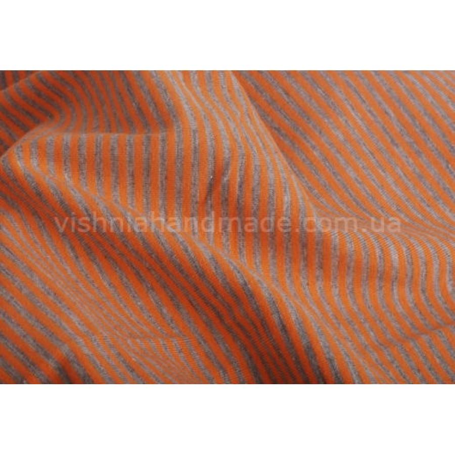Отрез трикотажа стрейч-кулир «Оранжевая-серая полоска 2 мм», 25*40 см