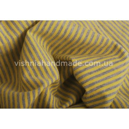 Отрез трикотажа стрейч-кулир «Желтая-серая полоска 2 мм», 25*40 см