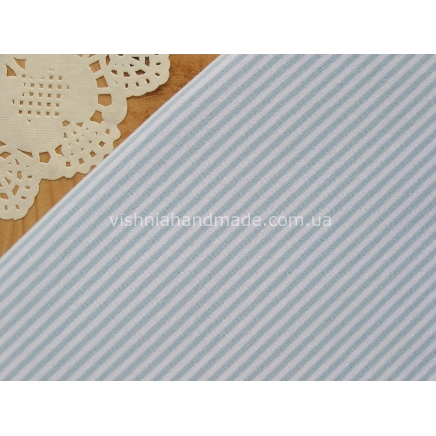 Трикотаж стрейч-кулир голубая полоска 3 мм, 25*40 см