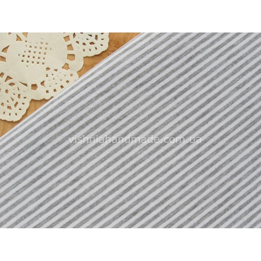 Трикотаж стрейч-кулир серая полоска 3 мм, 25*40 см