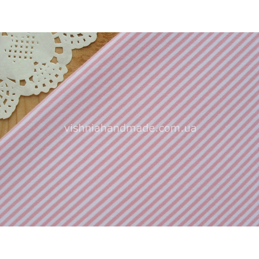 Трикотаж стрейч-кулир розовая полоска 3 мм, 25*40 см