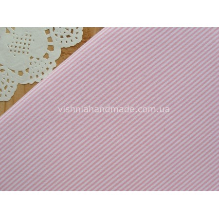 Отрез трикотажа стрейч-кулир «Розовая микро полоска 1 мм», 25*40 см