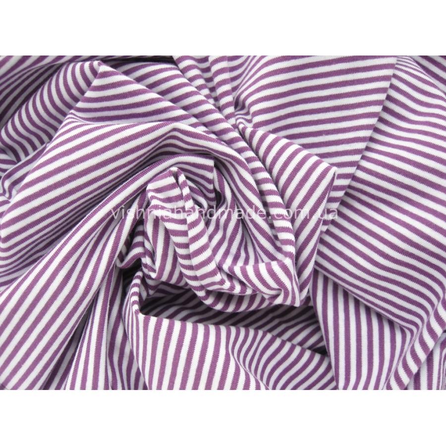 Отрез трикотажа стрейч-кулир «Фиолетовая полоска 3 мм», 25*40 см